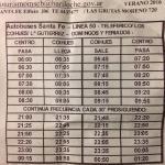 Horario linea 50 a los coihues (para llegar a la cascada). Costo 8$. Enero 2016.