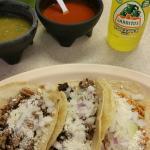 Carnitas, pollo and lengua tacos.