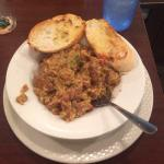 Bowl of Jambalaya. $8.95. Very good and loaded with sausage.