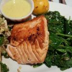 Wild salmon  with spinach  and kale salad....yum!