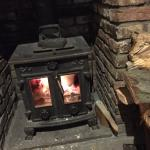 Log fire and a happy wife