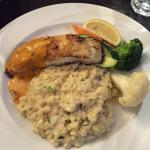 Seafood Special - Roasted sea bass with risotto and mixed veg.