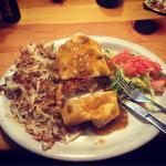Hangover Burrito: corned hash, eggs cheese salsa and green pork chili sauce