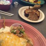 Great pork chile verde, banana bread and benedicts