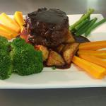 Eye fillet steak with seasonal vegetables