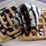 waffles with a scoop of (seasonal) ice cream
