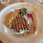 Bombardini al pesce  spada con pistacchio di bronte  Tagliata di tonno su letto patate e ricola