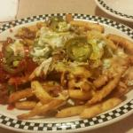 Gyro and chopped steak with salad and cafe fries