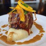 230g Matured Fillet Served On Pecorino Mash Potatoes with a Brandy Pepper Creamy sauce