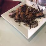 Mushroom steak and wild rice