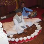 """Jal Tarang"" - is an Indian melodic percussion instrument. All bowl are fill with water."