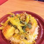 Calamari + lamb entree + lemon chicken