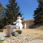 The snow men out side of Bronner's Christmas Wonderland