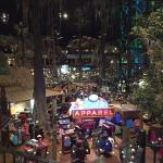 The view of the Mississippi River from the observation deck. The inside of the bass pro store, w