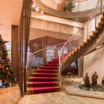 Christmas decorated hotel lobby