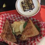 Breakfast sandwich and Hello Dolly. So yummy!