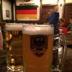 Ahhh! Big liter of cold beer.