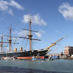 HMS Warrior the largest warship in the world when built at 9,210 tons displacement.