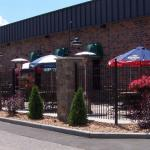 The Courtyard - outdoor dining at Great River Bowl & Partners Pub