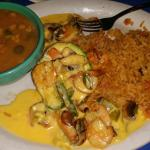 Shrimp Stuffed avacado, with a side of rice and charro beans!  It was EXCELLENT!