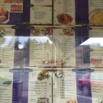 Menu on their window, wasn't allowed to take photos so I sneaked one in