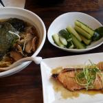 Vegetarian ramen with pickled cucumbers and miso salmon