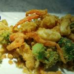 The sweet potatoes and the Calamari with Vegetables