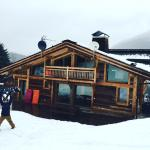 The back of the chalet, having snowboarded all the way back.