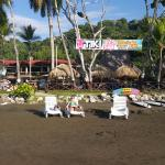 Not much of a beach it's hard volcanic sand. They charge $10 for chair with umbrella