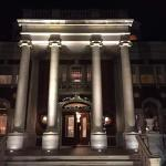The front of the Mansion at night