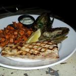 Sea bass with sweet potato hash