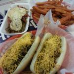 Custom Paleo dog & Paleo Sweet potato fries.. very good.  Kosher chili cheese dogs just ok and t