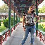 Wandelgang im Sommerpalast Foto