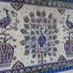 Peacock Tiles Outside in the Garden