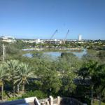 View from our room - BB&T Center (left), Sawgrass Mills mall new parking garage (cranes, center)