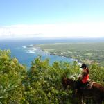view to Kalaupapa atop the mule along the trail