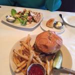 North Star Bistro Waldorf Salad and Cheddar & Bacon Jam Burger