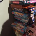 old style old furniture stack of games for a rainy day