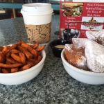 Sweet Potato frys and french donuts, Yes!