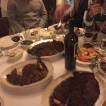 close steak is medium rare filet and far is medium with mushrooms, asparagus, mash and asparagus