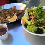 salad and baked fish