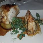 Lovely sea bass and chicken at the River Bank Leixlip