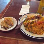 huge portions, enough for two meals, arroz con pollo y tostones