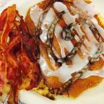 This is so good! It's a Cinnabon pancake!!