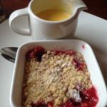 Winter fruits crumble with custard.
