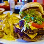 1/2 Pound Green Chile Cheeseburger and Green Chile cheese fry's