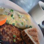 Downtown Dunedin Deli & Grill - Ham, bacon, cheddar, mango drizzle, green onion omelette with po
