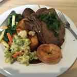 Nice Sunday lunch, but you seriously need to step up on the Yorkshire puddings - very disappoint