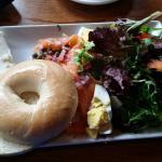 Salmon lox bagel