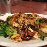 Seafood and veggies.
